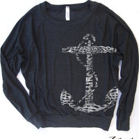 Womens Vintage ANCHOR Tri-Blend Pullover - american apparel S M L (6 Color Options)