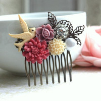 A Pink Large Chrysanthemum, Pearl, Ivory Daisy, Leaf Flower Collage Hair Comb. Maid Of Honor, Bridesmaids Gift Wedding. Gifts For Wife
