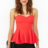 Sweetheart Peplum Top - Coral