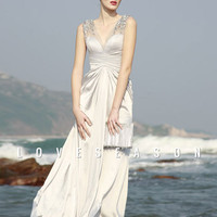 Elegant A-line V-neck Floor-length Chiffon Evening Dresses - LoveSeason.com