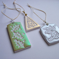 Christmas Ornaments/Gift Tags, Polymer Clay, Handmade to order, set of three