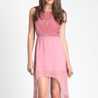 Pink Velvet Crush High Low Dress - $40.00 : ThreadSence, Women's Indie & Bohemian Clothing, Dresses, & Accessories