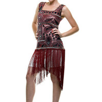 $168 1920's Style Burgundy & Black Hand Beaded & Fringe Flapper DRESS - S to XL - Unique Vintage - Cocktail, Evening  Pinup Dresses