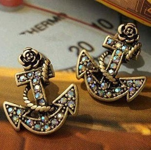 Antique Brass Tone Rhinestone Anchor Stud Earrings