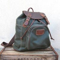 Vintage Forest Green and Brown Medium Rucksack Backpack by Espirit