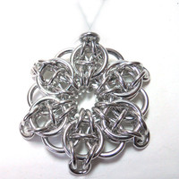 Christmas ornament, Chainmaille, Star, Silver aluminum