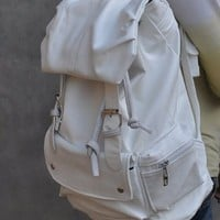 White PU Leather-like Material Backpack School Bag GREAT QULAITY! Look Real COOL !
