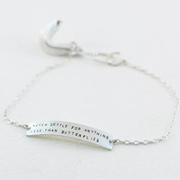 never settle for anything less than butterflies - sterling silver fortune cookie bracelet