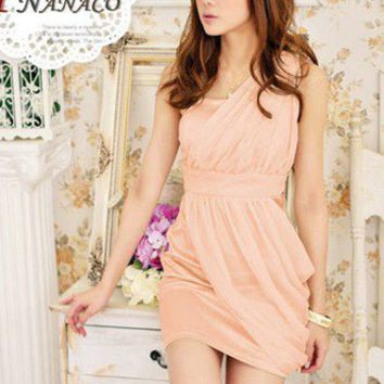Wholesale Luxury Romantic Single Shoulder Pleated Chiffon Dress Pink