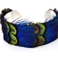 $27.00 Green and Blue Peacock Cuff 1 Inch by PlumeDelight on Etsy