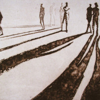 "Haunting Figure Print Dark Creepy Shadows Spooky Hand Pulled Intaglio Fine Art Aquatint Sugarlift ""Paths VIII"""