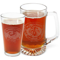 Lord of the Rings Etched Bar-Ware - Prancing Pony Pint Glass 2 Pk