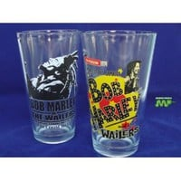 BOB MARLEY & The Wailers Set of 2- 16 Ounce Boxed Glassware Collectible Classic Representation of Marley's Concert Appearances In This Unique Collectible Boxed Set!!!