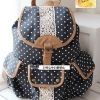 JAPAN Vintage Polka Dot Lace Pocket Backpack School Campus Outdoor Rucksack