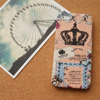 On Sale,Pink crown design iphone 5 case, Special fabric iphone case, Kawaii iphone 5 case