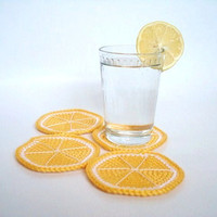 Lemon Coasters Crochet Set of 4 by AllSoCute on Etsy