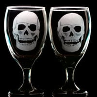 Black glassware skull goblet set of two hand engraved stamware barware