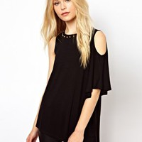 River Island Cold Shoulder Stud Tunic at asos.com