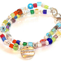 Friendship Pearl Beaded Bracelet Millefiori Wish Charm Sparkle Tribal Silver Multistrand Bangle Fizz Candy Handcrafted Gemstone Jewelry