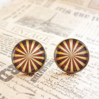 Brown stripes stud earrings