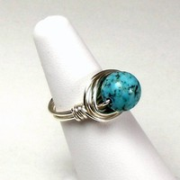 Turquoise Howlite Wire Wrapped Ring in Silver