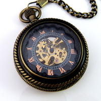Groomsman Gift Pocketwatch  Dark Skeleton by OWLandHOURGLASS