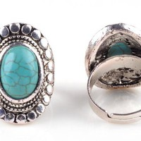 Turquoise Vintage Style Silver Tone Adjustable Ring