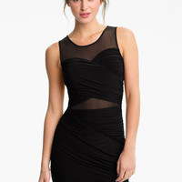 Soprano Mesh Panel Draped Bodycon Dress (Juniors) | Nordstrom