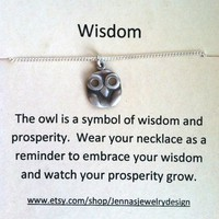 Sterlign Silver Owl Necklace, Wisdo.. on Luulla