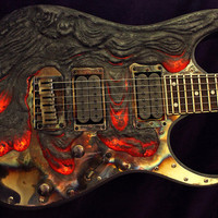 Molten Lava Guitar by GuitarCustomisation on Etsy