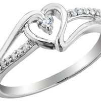 Diamond Heart Promise Ring 1/10 Carat (ctw) in Sterling Silver, Size 6
