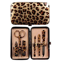 Manual Woodworkers & Weavers Gold Leopard Purse Sized Manicure Set
