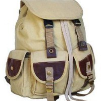Military Inspired Canvas Backpack Multiple Pockets Day Pack Khaki: Home & Kitchen