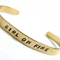 Girl on Fire, Hunger Games Inspired Bracelet - Golden Brass Hand Stamped Cuff