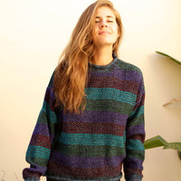 90s simple STRIPED pastel grunge SLOUCHY warm sweater