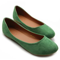 Ollio Womens Ballet Flats Loafers Comfort Light Faux Suede Low Heels Green Shoes