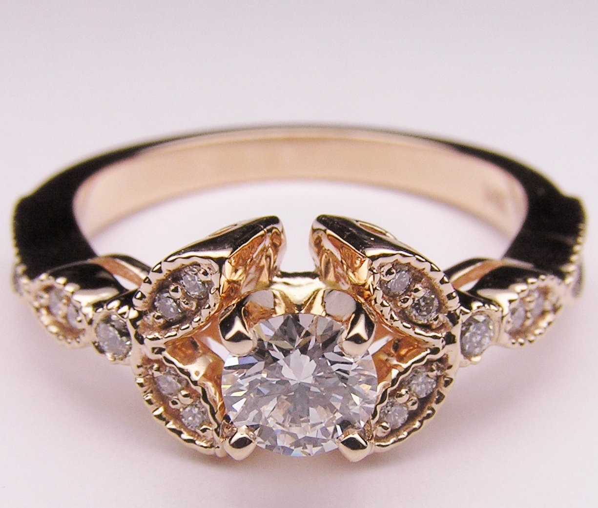 Engagement Ring Round Diamond Floral from MDC Diamonds