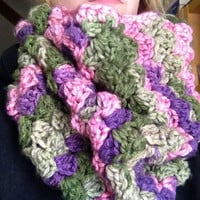 Garden Boutique Color Cowl Green Purple Pink Chunky Cowl