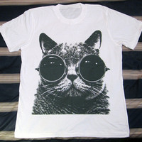 CAT Glasses T-Shirt -- Cat T-Shirt Cat Shirt Animal T-Shirt White Shirt Women T-Shirt Men T-Shirt Unisex T-Shirt Short Sleeve T-Shirt Size L