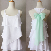 SEASIDE AURA - Romantic white flowy tier blouse // pastel mint green // chiffon sash bow // tunic // tank top // racerback