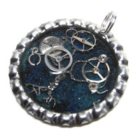 Aqua w/ Blue Glitter Steampunk Tree of Life Resin Bottlecap Pendant