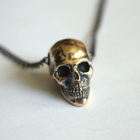Skull Necklace in Solid Bronze Skull