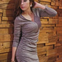 Fancy All Match Grey V Neck Pure Dresses : Wholesaleclothing4u.com