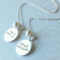 Soul Sisters Hand Stamped Thai Silver Round Disc Charm Necklace Set for Both--Gift for Friend