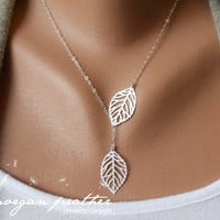 Leaf Lariat Petite - silver grey white small delicate leaf pendants - sterling silver chain - morganprather