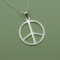 Large Peace Sign Necklace - 925 sterling silver jewelry - pendant