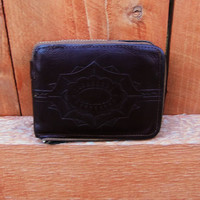 distressed brown leather zip around wallet.  gift for him. aztec wallet. southwestern wallet
