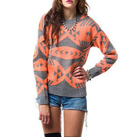 ELECTRIC NEON ORANGE GREY TRIBAL PRINT KNIT CREW NECK PULLOVER SWEATER SOUTHWEST