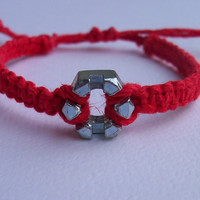 Hemp and Hex Nut Adjustable unisex bracelet, macrame