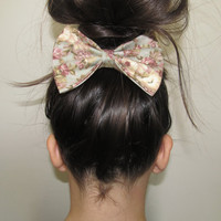 Oversized Muted Floral Hair Bow